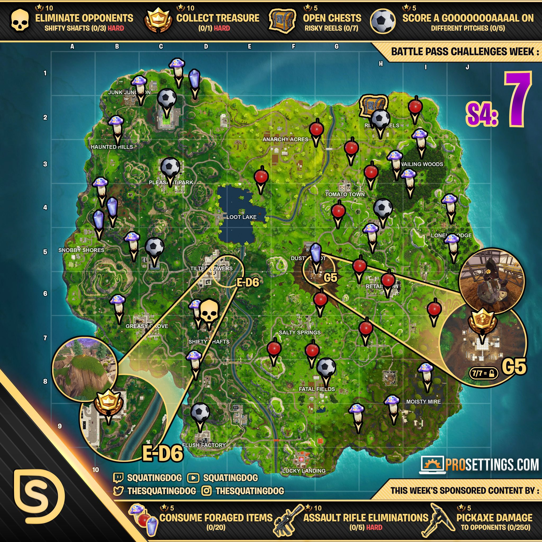 fortnite s4 week 7 battle pass challenge cheat sheet - fortnite mushrooms map