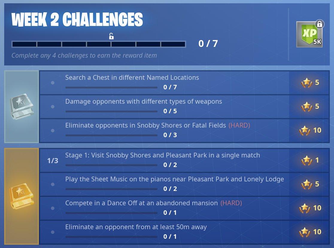 fortnite season7 week2 challenges - fortnite weapon damage season 7